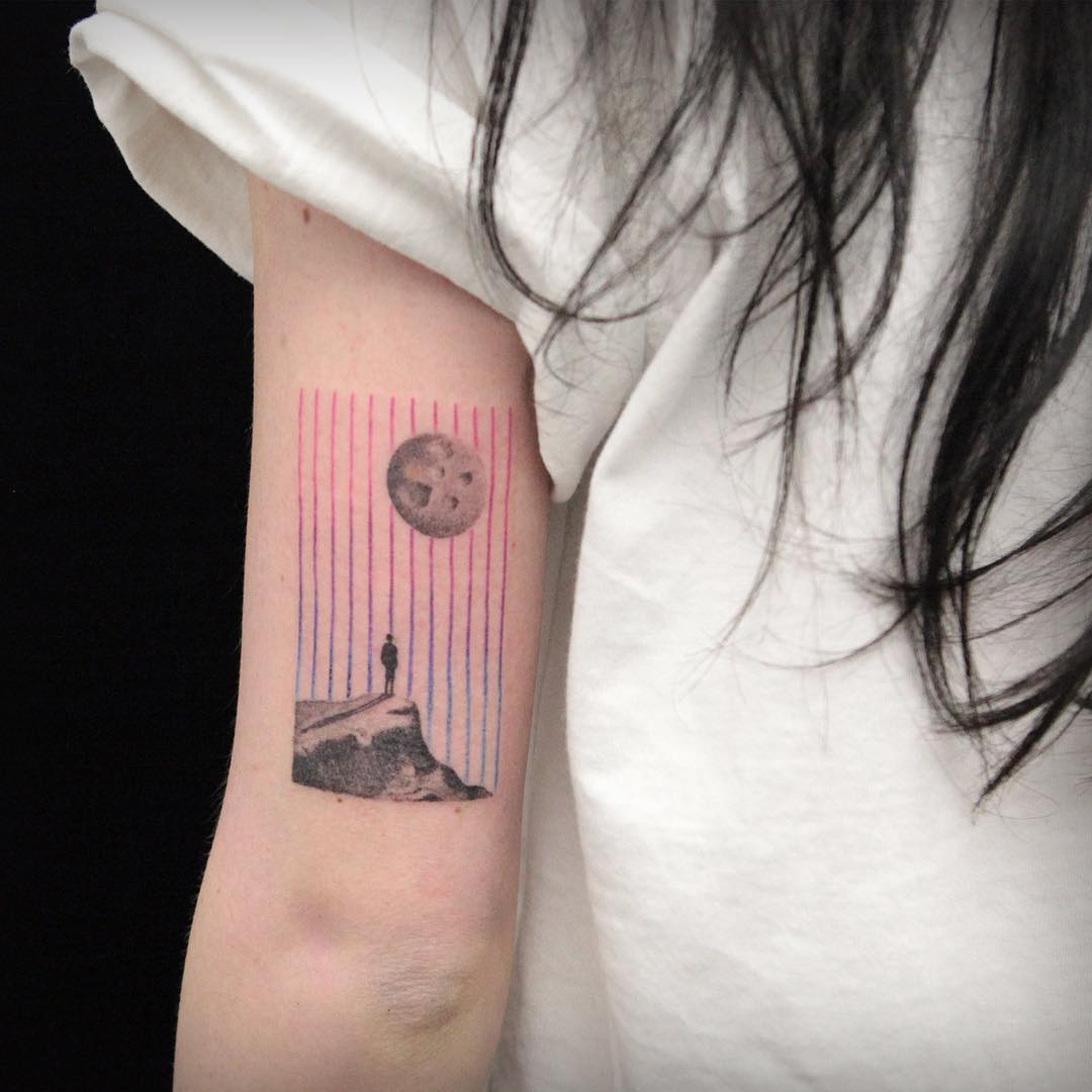 Man and a moon tattoo by Aga Kura