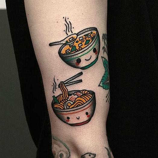 Miso and ramen tattoos by Krzysztof Szeszko