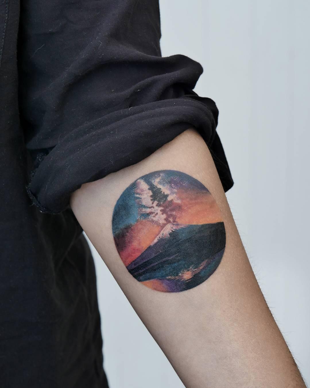 Mountain and night sky by Rey Jasper