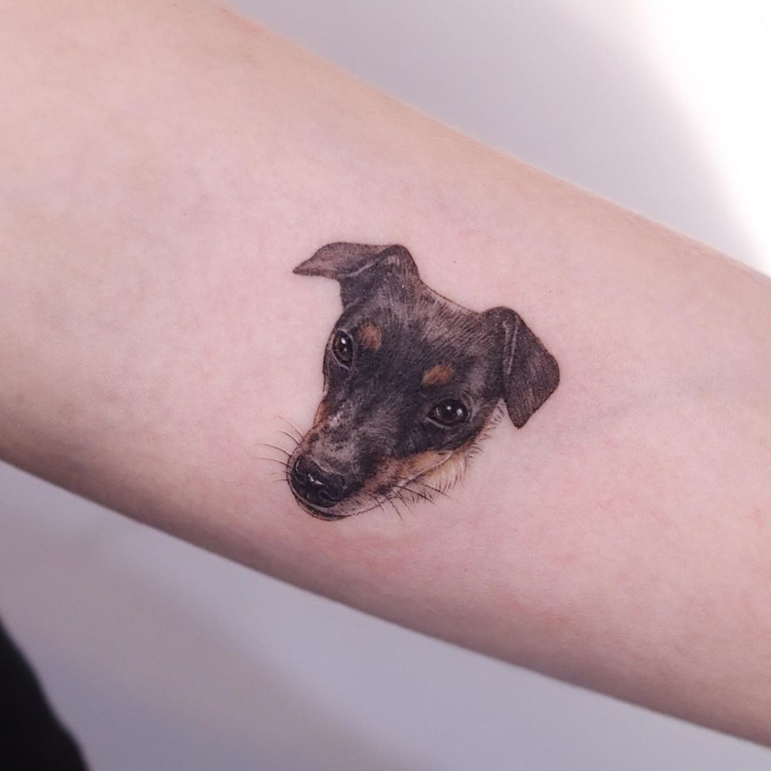 Puppy portrait by tattooist Nemo