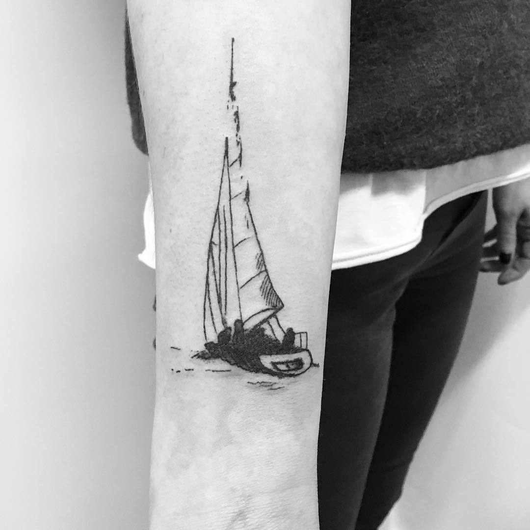 Sailing ship tattoo by Philipp Eid