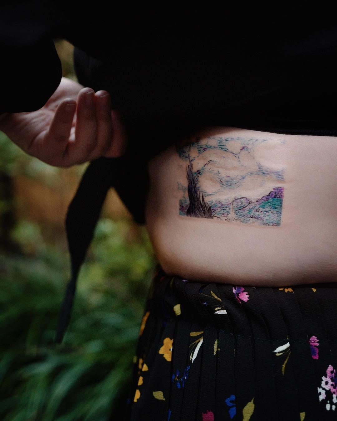 Starry Night tattoo by Studio Bysol