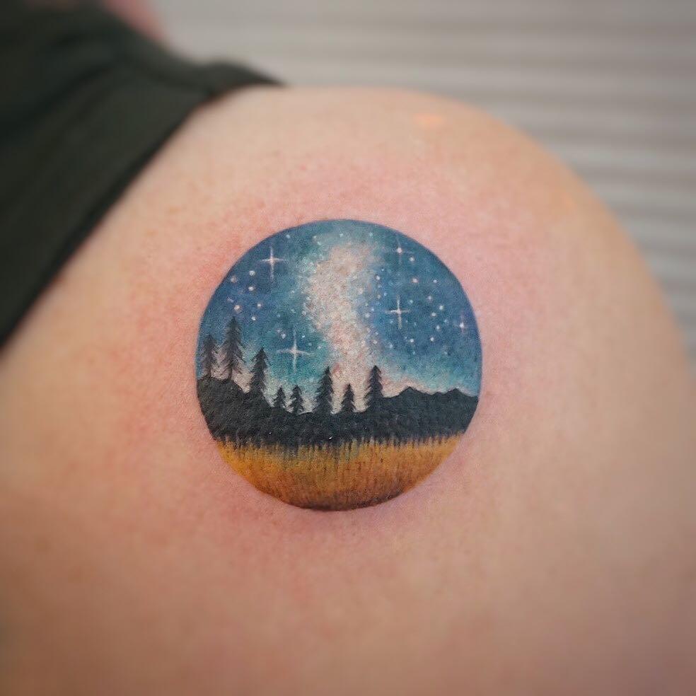 Starry night tattoo by tattooist G.NO