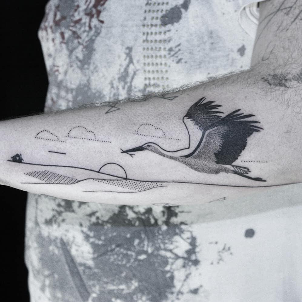 Stork tattoo by Aga Kura