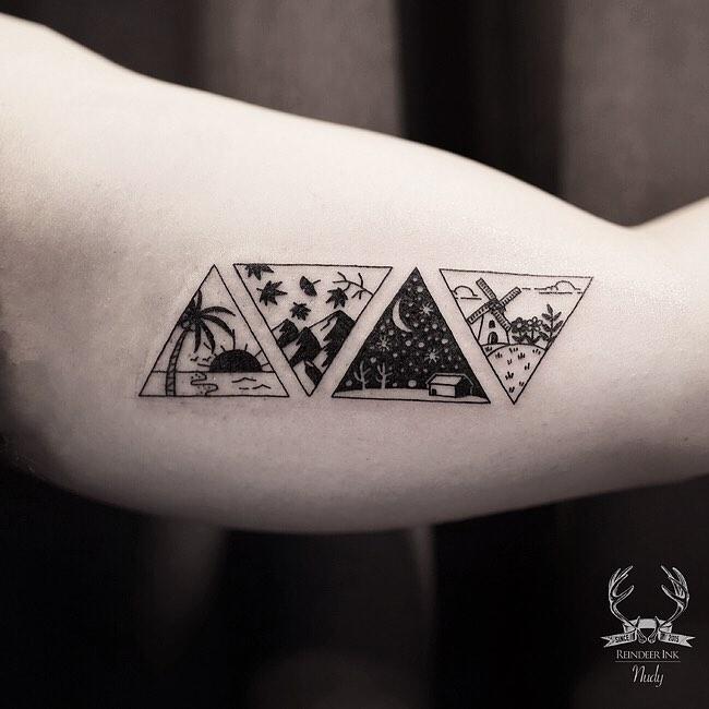 Summer, Fall, Winter, Spring tattoos by Nudy tattooer