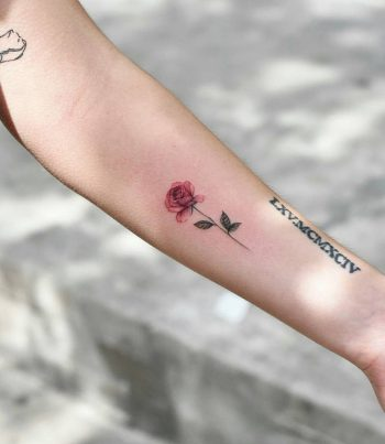 Tiny watercolor rose tattoo by Dragon Ink