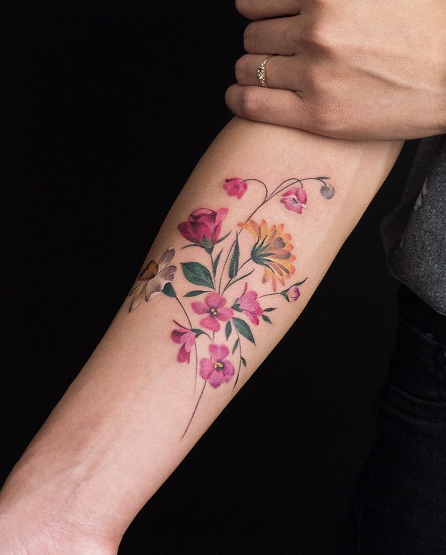 Violets, Narcissus, Rose, Marigold, and Lily by Rey Jasper