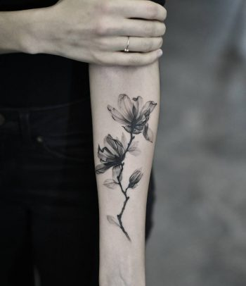 X-ray style magnolia tattoo by Dragon Ink