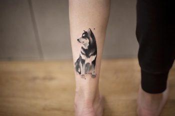 Alaskan Malamute tattoo by tattooist Chenjie