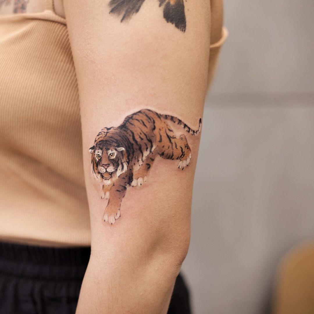 Big tiger by tattooist Chenjie