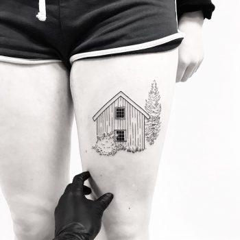 Cottage tattoo by tattooist pokeeeeeeeoh