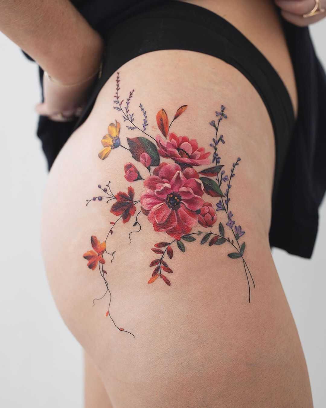 Delicate flowers on a hip by Rey Jasper