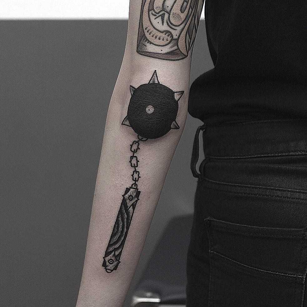Flail tattoo by Krzysztof Szeszko