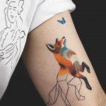 Fox and butterfly tattoo by Rey Jasper