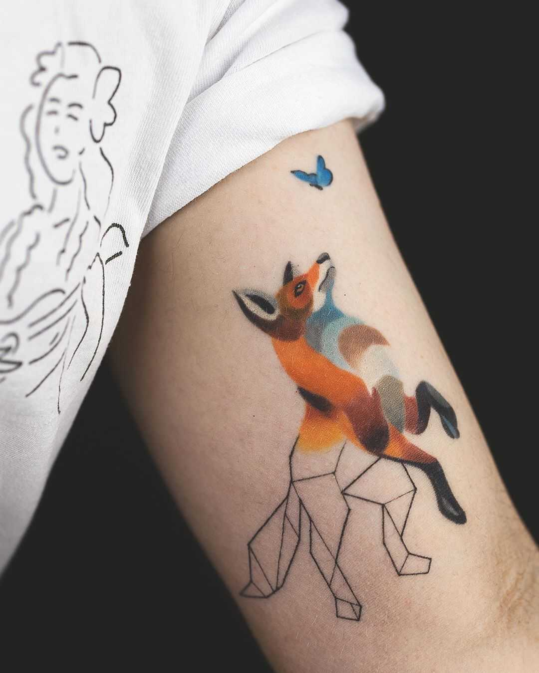 Fox and butterfly tattoo by Rey Jasper