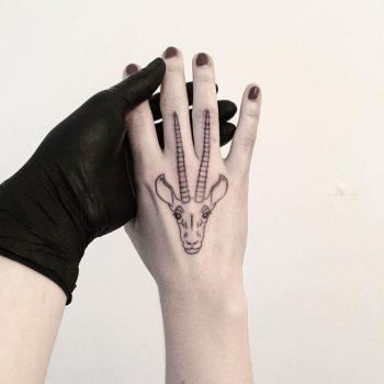 Gazelle head tattoo by tattooist pokeeeeeeeoh