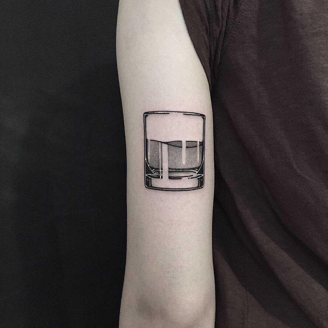 Glass of water tattoo by tattooist yeontaan