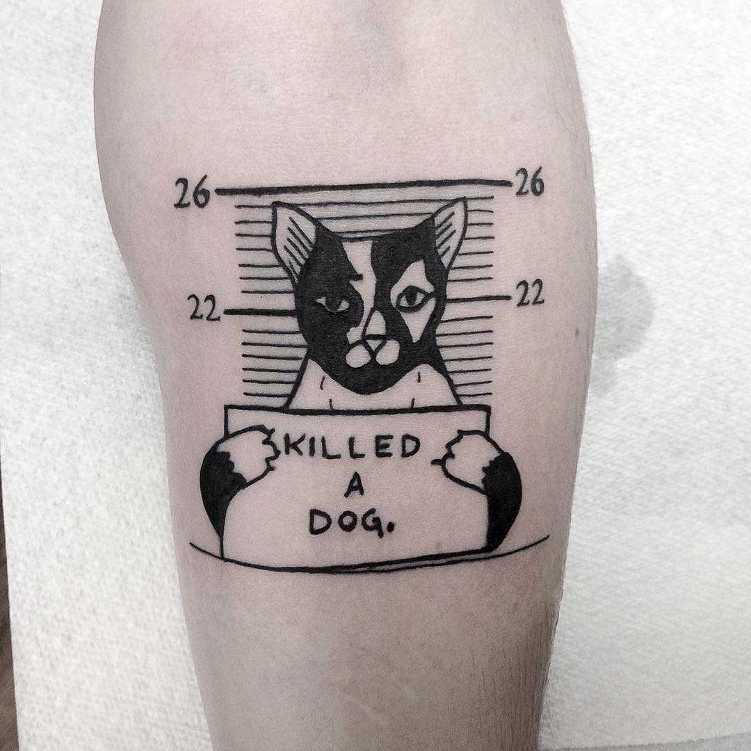 Guilty cat tattoo by Loughie Alston