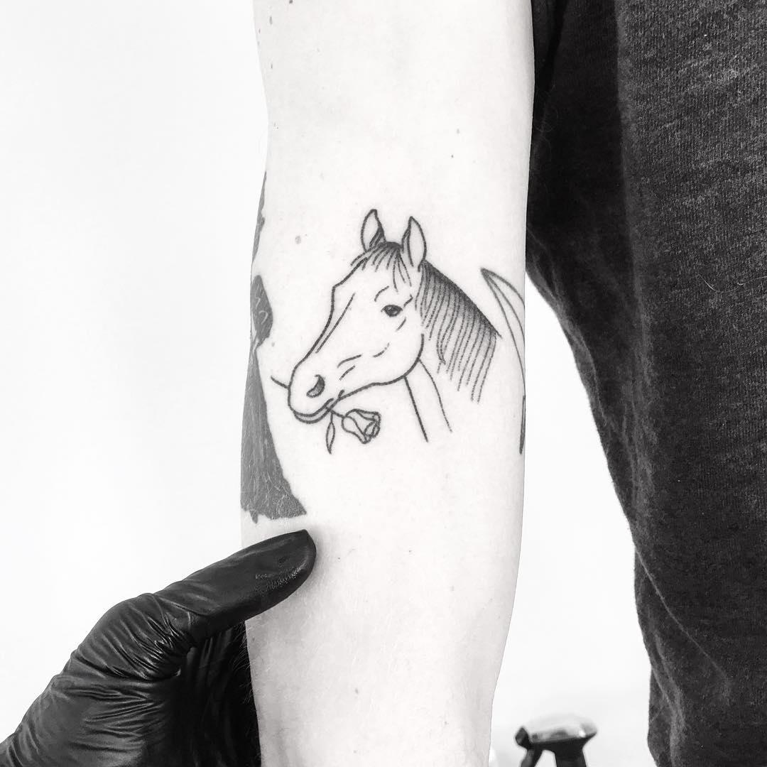 Horsie with a flower by tattooist pokeeeeeeeoh