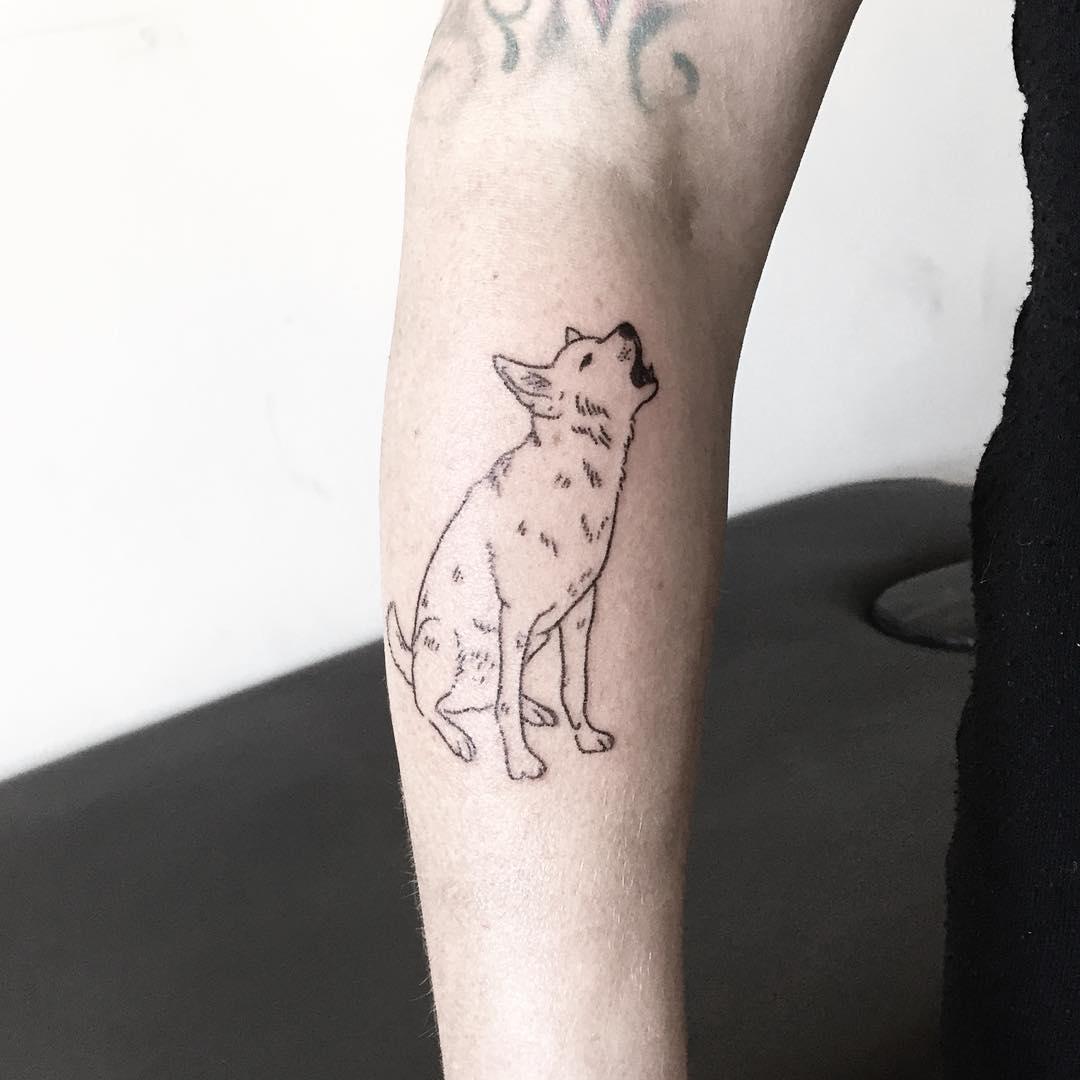 Howlin Canaan dog by tattooist pokeeeeeeeoh
