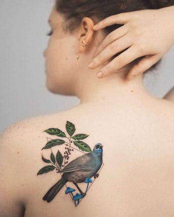 Kōkako bird tattoo by Rey Jasper