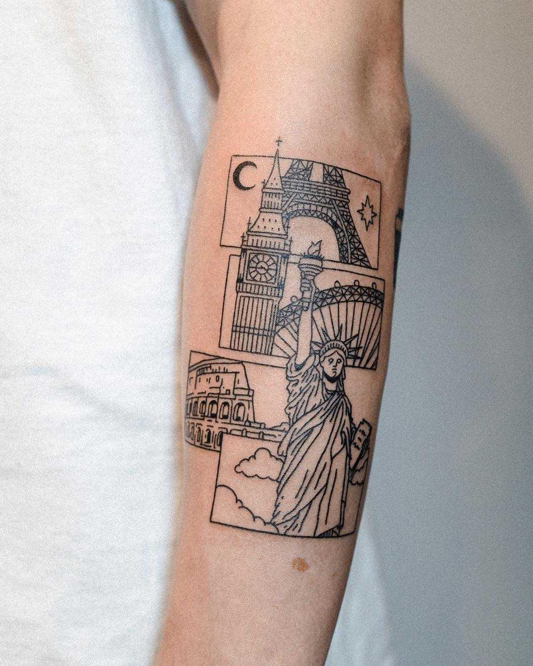 Landmark tattoo by tattooist Bongkee