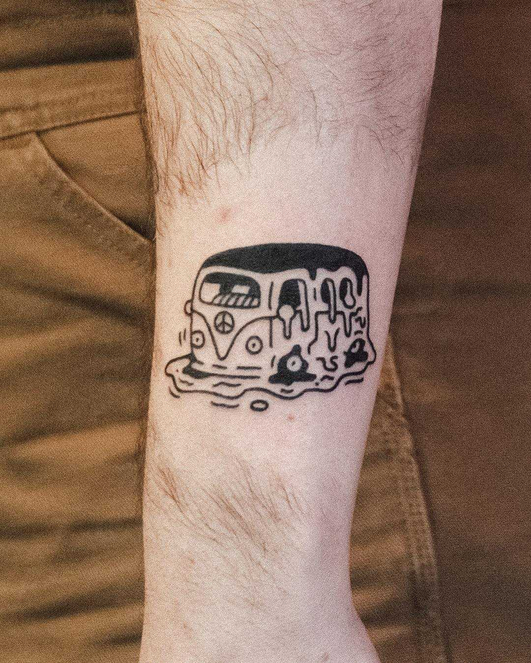 Melting bus tattoo by tattooist Bongkee