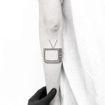 Minimalist TV tattoo by tattooist pokeeeeeeeoh