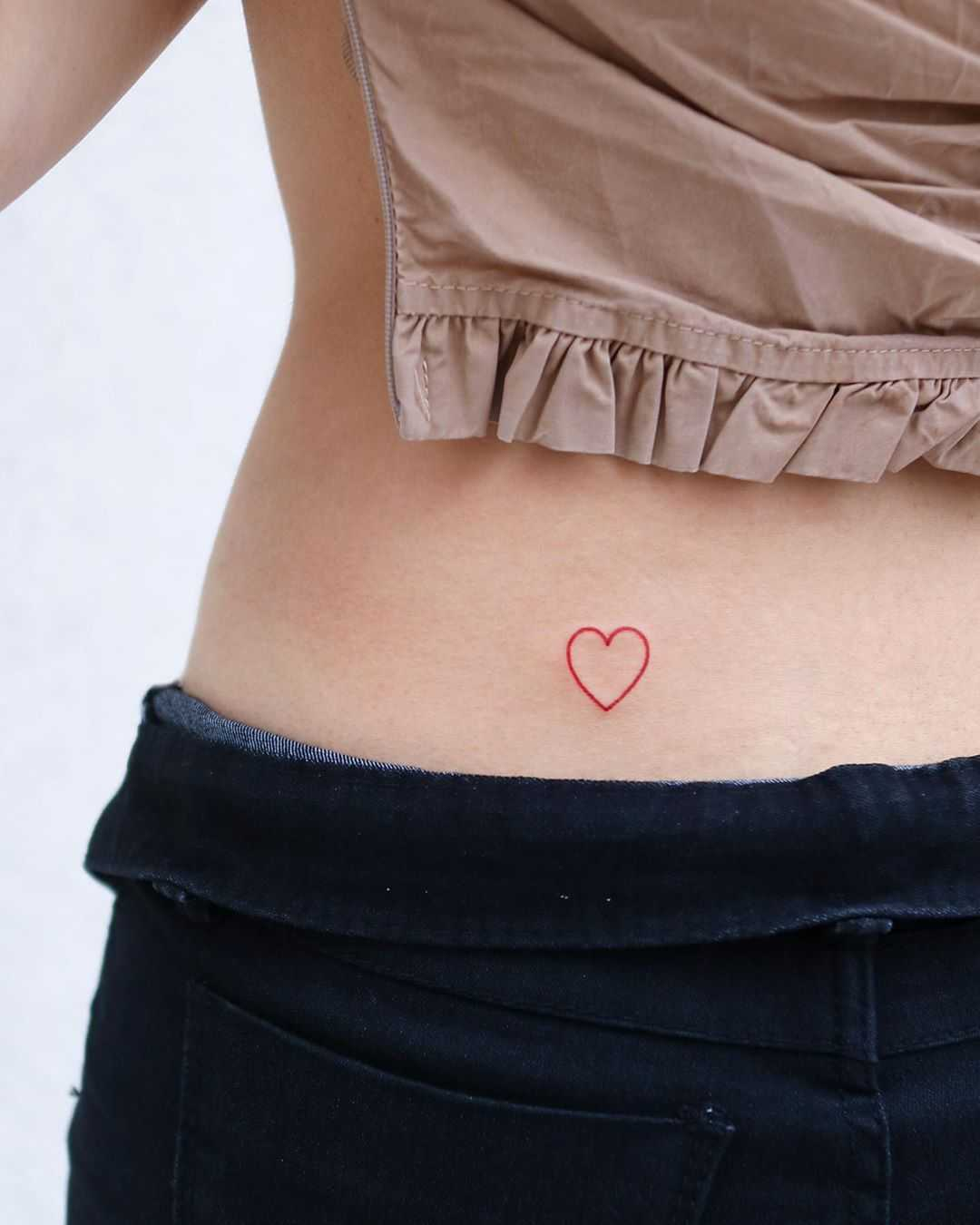 Outline red heart by tattooist Nemo