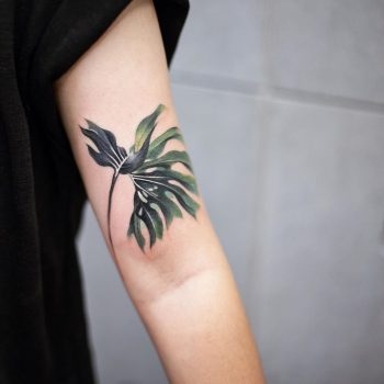 Philodendron tattoo by tattooist Chenjie