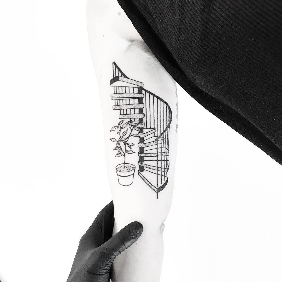 Spiral staircase tattoo by tattooist pokeeeeeeeoh