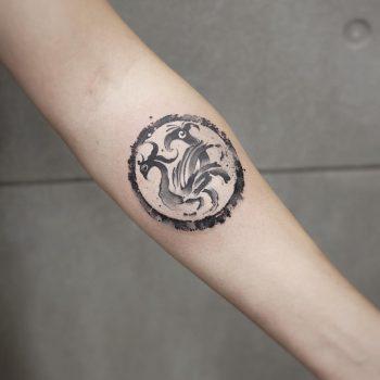 Suzaku tattoo by tattooist Chenjie