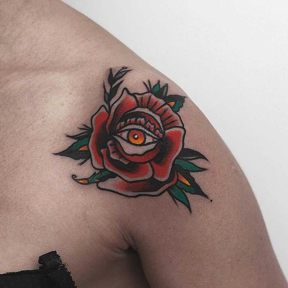 Traditional rose on a shoulder by Krzysztof Szeszko