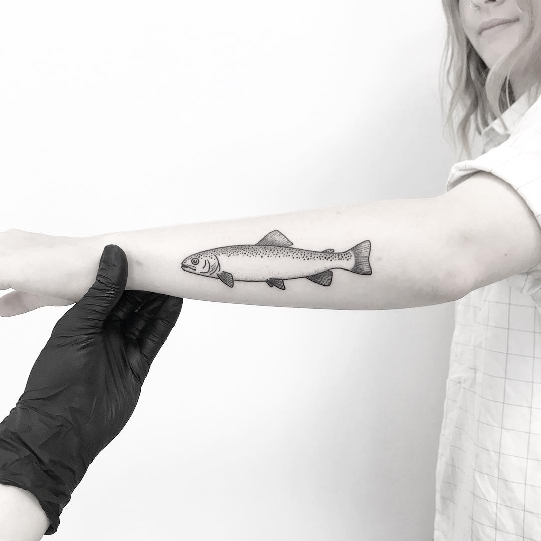 Trout tattoo by tattooist pokeeeeeeeoh