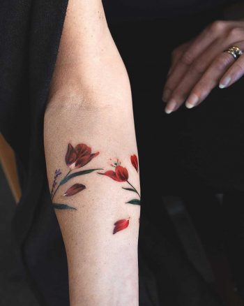 Tulip and lavender armband tattoo by Rey Jasper