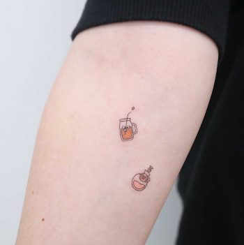 Valentino perfume and lemonade by tattooist Nemo