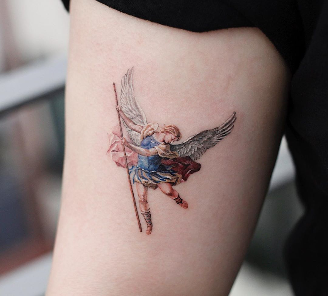 Archangel Michael tattoo by tattooist Saegeem