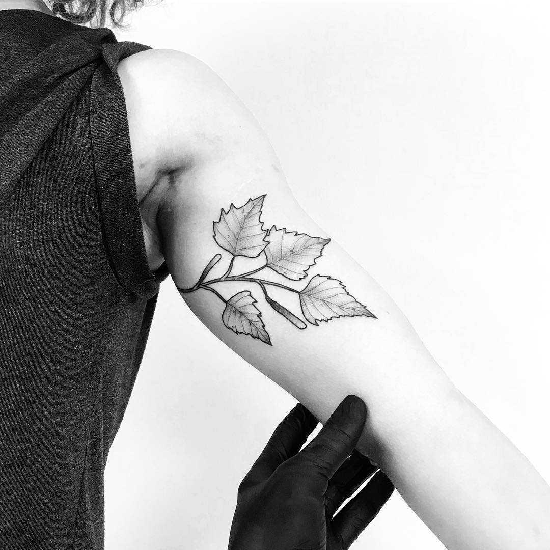 Birch leaves by tattooist pokeeeeeeeoh
