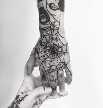 Black spider web hand by tattooist weepandforfeit