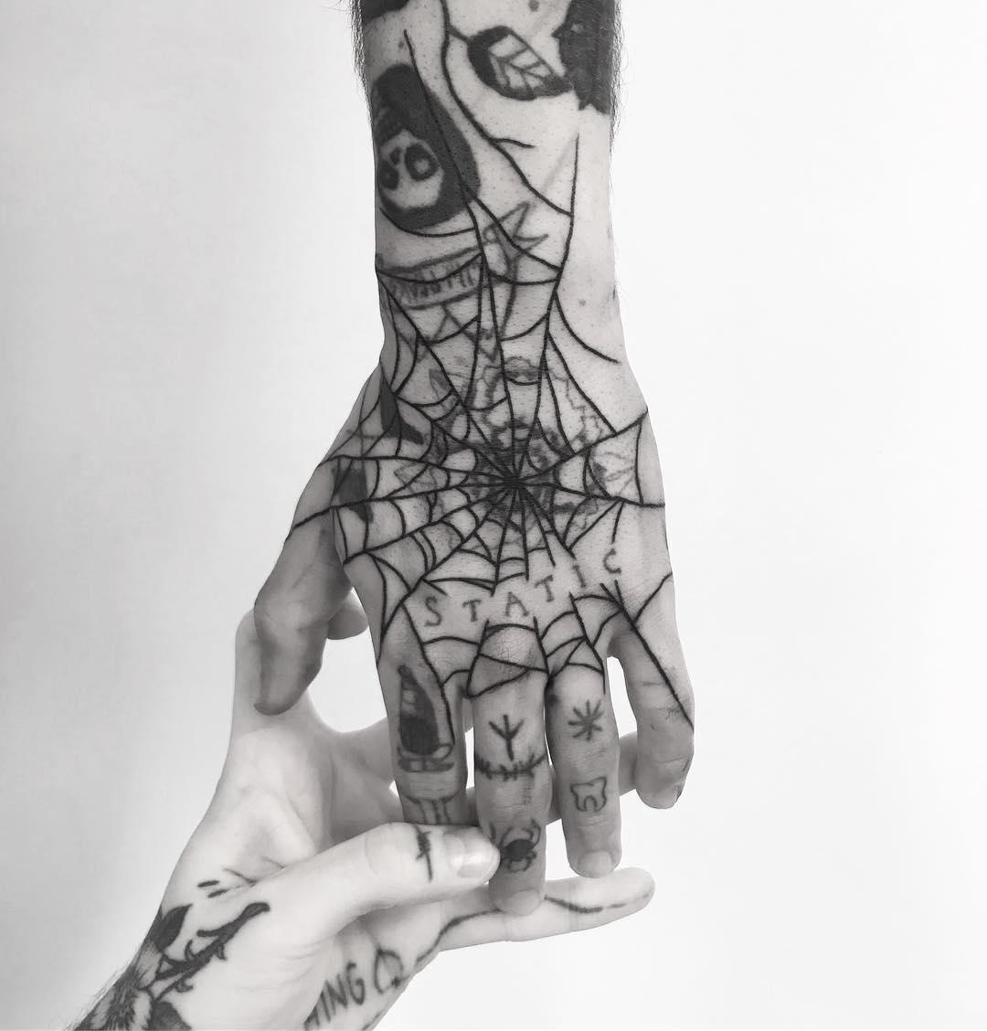 Black spider web hand by tattooist weepandforfeit