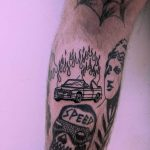 Burning bimmer tattoo by Tristan Ritter