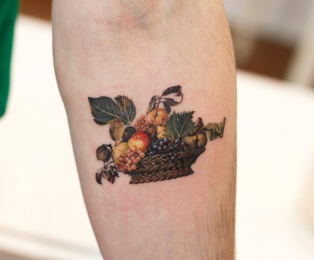 Caravaggio's Basket of fruit by tattooist Saegeem