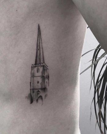 Church steeple tattoo by Oscar Jesus