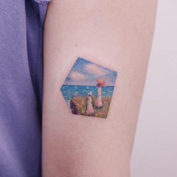 Claude Monet's Cliffwalk at Pourville by tattooist Saegeem