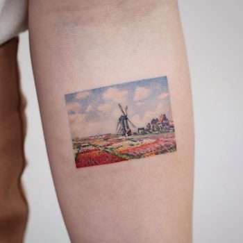 Claude Monet's Tulip fields in Holland tattoo by tattooist Saegeem