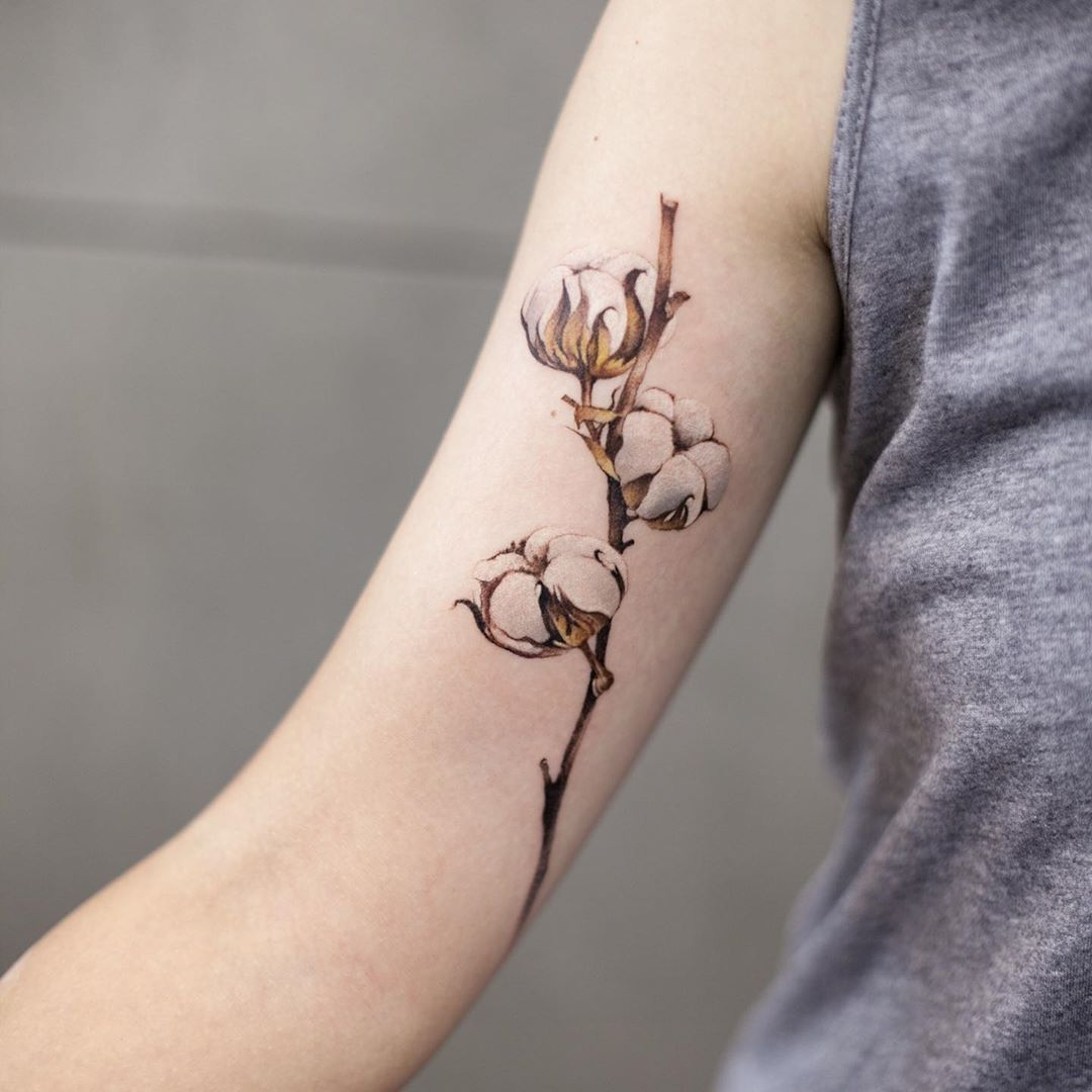 Cotton flower tattoo by tattooist Chenjie