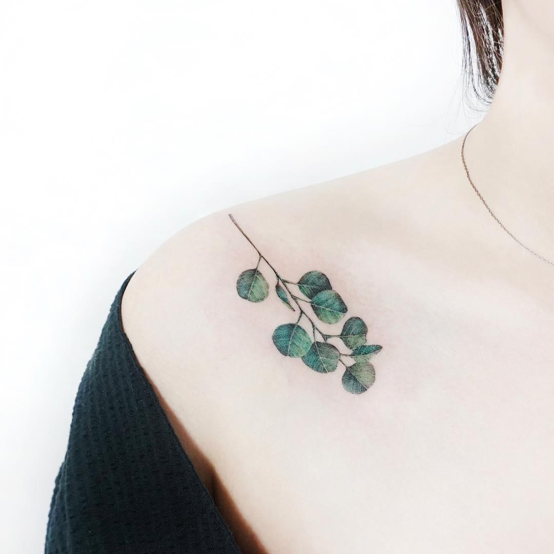 Eucalyptus tattoo by tattooist Ida