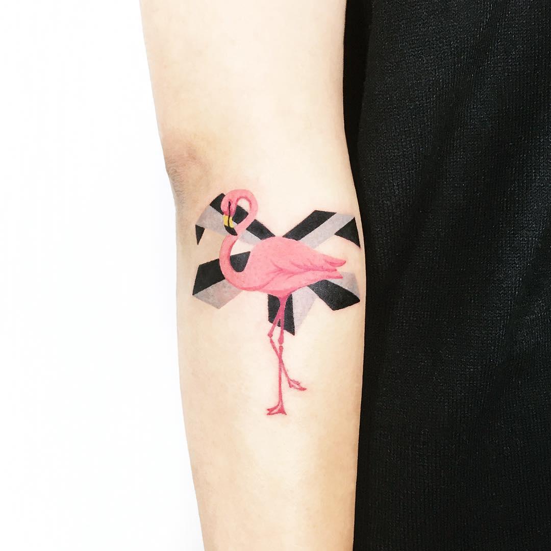 Flamingo by tattooist Ida