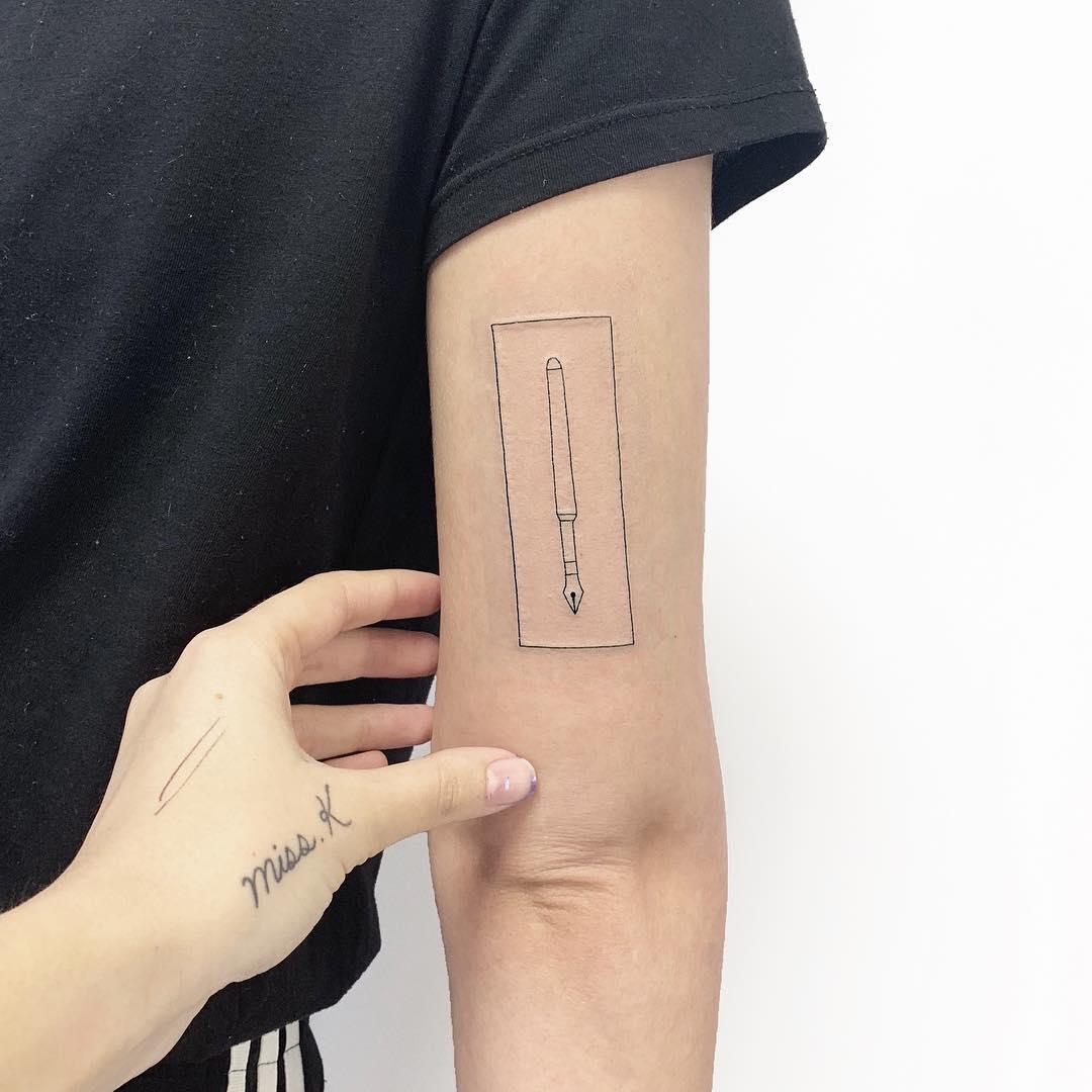 Fountain-pen tattoo by Sara Kori