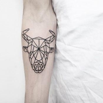 Geometric bull head by Malvina Maria Wisniewska